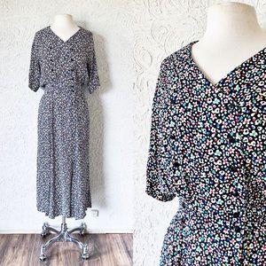 Colorful Floral Button Front Dress | Vintage